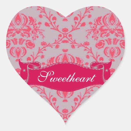 Rosa retro del damasco en monograma gris pegatina en forma de corazón