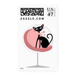 Rosa retro del gato sellos postales