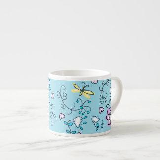 Rosa retro lindo del amarillo de la aguamarina de  taza espresso