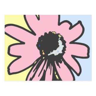 Rosa retro RMPD06 floral azul del amarillo de la Tarjetas Postales