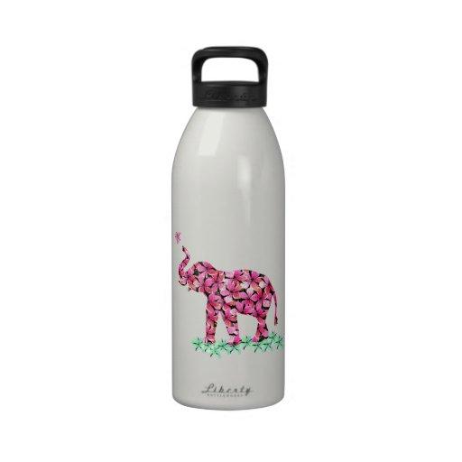 Rosa retro Sakura del verde de la flor del elefant Botella De Agua Reutilizable
