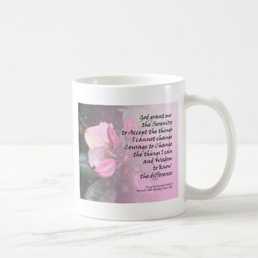 Rosa Rhodies del rezo de la serenidad Taza De Café