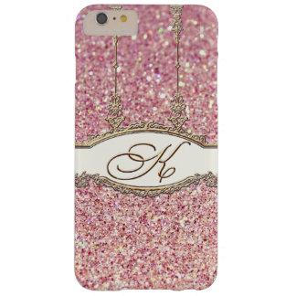 Rosa rococó barroco del brillo del monograma K Funda Barely There iPhone 6 Plus