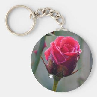 Rosa roja con gotita de agua, primer plano, llavero redondo tipo pin
