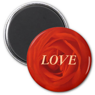 Rosa roja de los amores imán redondo 5 cm