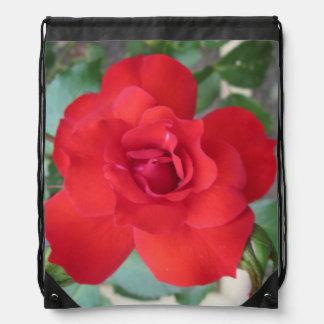 Rosa Roja Flor Drawstring Bag