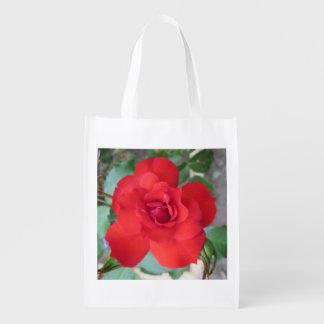 Rosa Roja Flor Reusable Grocery Bag