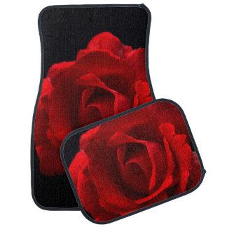 Rosa rojo alfombrilla de auto