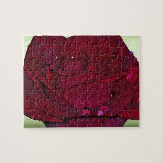 Rosa rojo apasionado puzzle