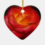 Rosa rojo ardiente ornamento para arbol de navidad