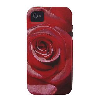Rosa rojo aumentado Digital en la plena floración Case-Mate iPhone 4 Carcasa