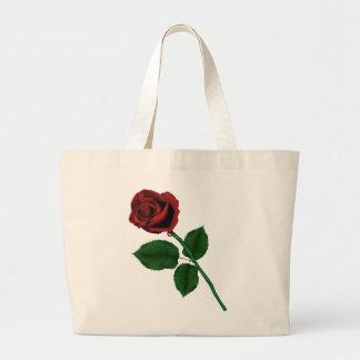 Rosa rojo bolsas lienzo