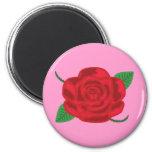 Rosa rojo bonito imán para frigorífico