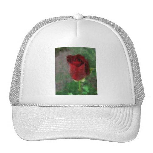 Rosa rojo carmesí del mosaico gorras