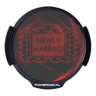 Rosa rojo casado nuevamente pegatina LED para ventana