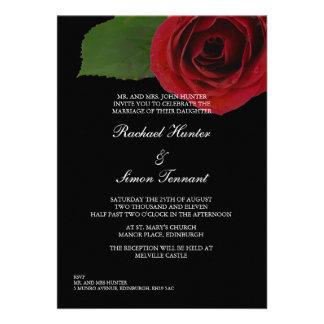 Rosa rojo con clase que casa Invitiation - negro Comunicados