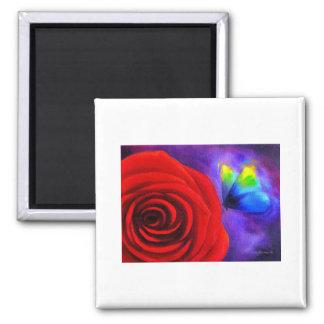 Rosa rojo con el arte de la pintura de la mariposa imán de frigorifico