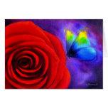 Rosa rojo con el arte de la pintura de la mariposa tarjeton