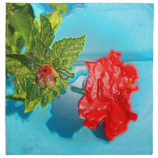 rosa rojo contra estilo azul del envoltorio de servilleta de papel