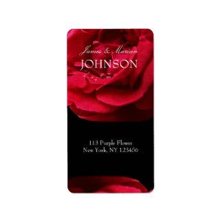 Rosa rojo de la pasión etiquetas de dirección