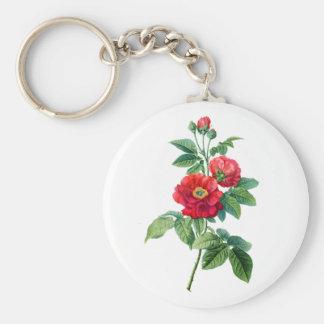 Rosa rojo de la provincia llavero redondo tipo pin