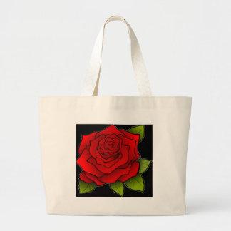 Rosa rojo de la tarjeta del día de San Valentín Bolsas Lienzo