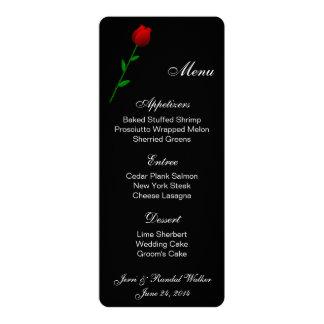 """Rosa rojo de la tarjeta del menú invitación 4"""" x 9.25"""""""