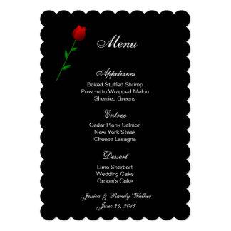 """Rosa rojo de la tarjeta del menú invitación 5"""" x 7"""""""