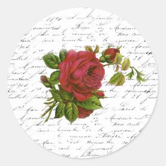 Rosa rojo de la tipografía francesa blanca negra pegatina redonda