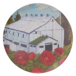 Rosa rojo de Lancaster y placa del granero Plato De Comida