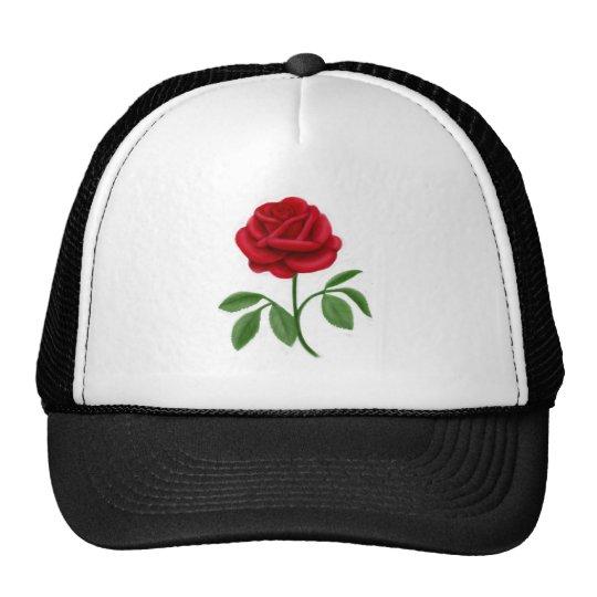 Rosa rojo de rubíes gorras de camionero