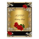Rosa rojo del 50.o oro negro elegante del anuncio personalizado