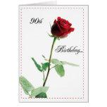 Rosa rojo del 90.o cumpleaños feliz 2722 tarjeta