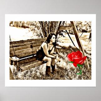 Rosa rojo del chica del país póster