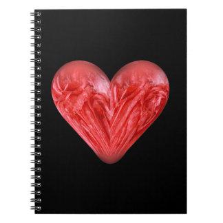 rosa rojo del corazón libretas