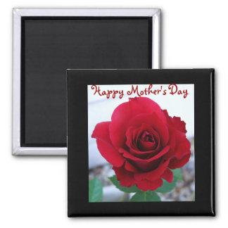 Rosa rojo del día de madre imán cuadrado