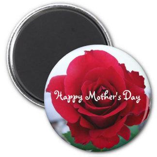 Rosa rojo del día de madre imán redondo 5 cm
