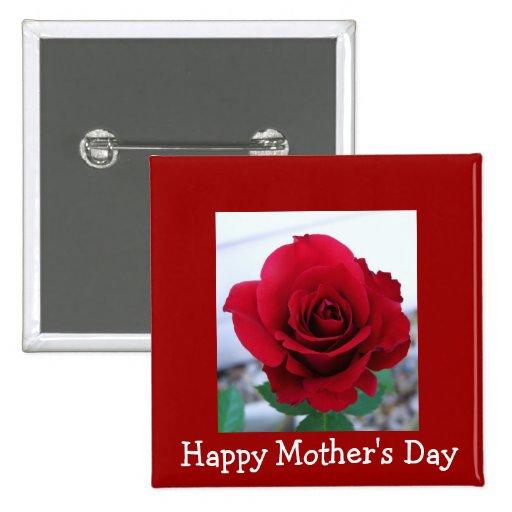 Rosa rojo del día de madre pins
