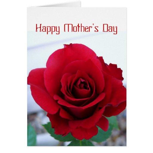 Rosa rojo del día de madre tarjeta de felicitación
