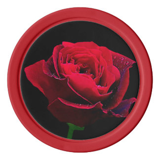Rosa rojo del día de San Valentín Fichas De Póquer