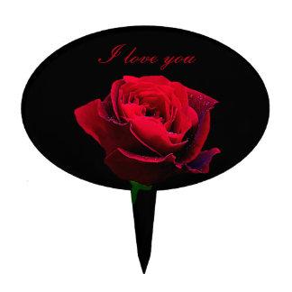 Rosa rojo del día de San Valentín Figuras Para Tartas
