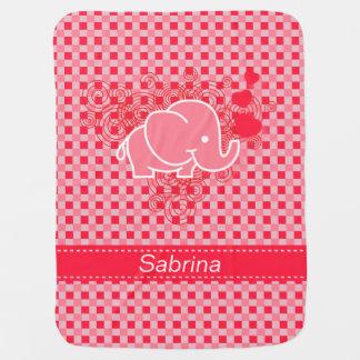 Rosa rojo del diseño el | del elefante del mantas de bebé