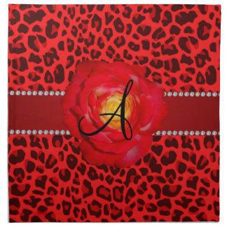 Rosa rojo del leopardo rojo del monograma servilleta