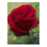 Rosa rojo del mosaico postal