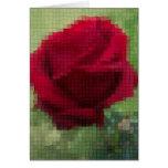 Rosa rojo del mosaico tarjetón