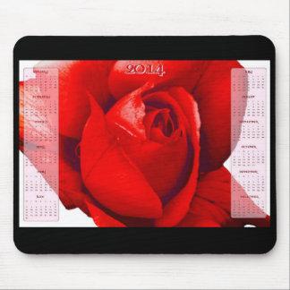 rosa rojo del mousepad de 2014 calendarios alfombrilla de ratón