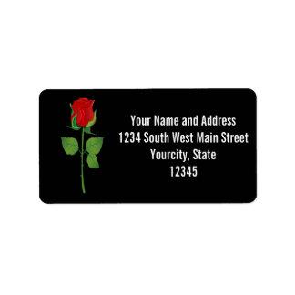 Rosa rojo del tronco largo etiqueta de dirección