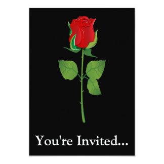 """Rosa rojo del tronco largo invitación 5"""" x 7"""""""