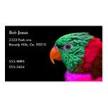 Rosa rojo del verde exótico del loro plantillas de tarjetas de visita