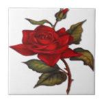 Rosa rojo del vintage azulejo cerámica